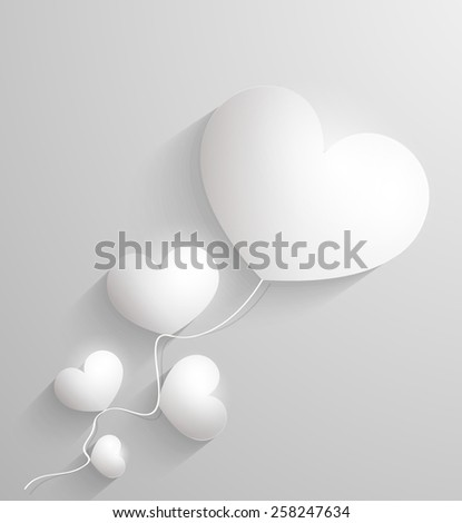 Valentines day. Abstract paper 3d hearts card vector - stock vector