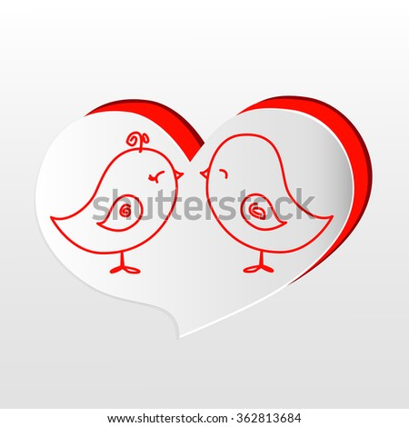 Valentines day. Abstract paper hearts. Love. A pair of lovers cute birds. - stock vector