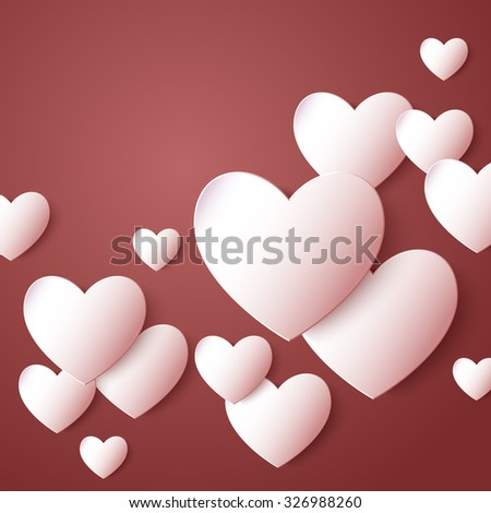 Valentines day. Abstract paper hearts. Love. Vector illustration eps 10 - stock vector