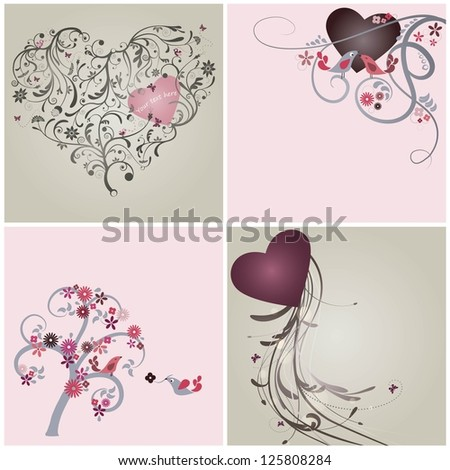 Valentines day and wedding cards collection - stock vector