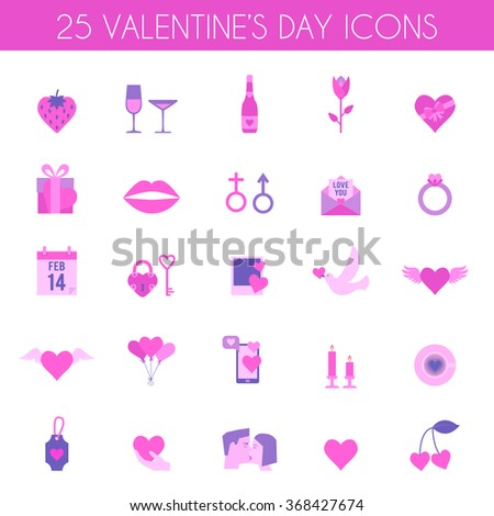 Valentines Day and wedding icons. Love concept in flat style. Vector illustration EPS10. - stock vector