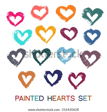 Valentines day background. Grunge painted hearts set. Paint texture, grunge design. Colorful design elements from brush strokes. Valentine card, greeting, banner, business card. Hand drawn vector. - stock vector
