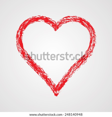 Valentines Day Background. Red Hearts Border Frame.  - stock vector