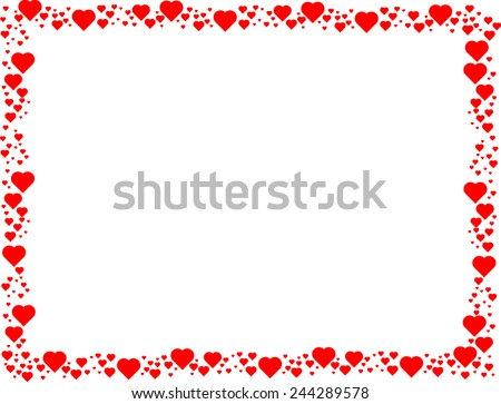 Valentines Day Background . Red Hearts Border Frame . Vector Frame with Space for your Text . - stock vector