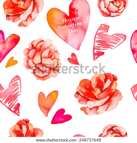 Valentines day background.Seamless pattern of hearts and roses. Camellia. Vector. - stock vector
