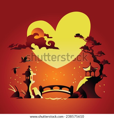 Valentines Day Background with Abstract Chines Background - stock vector