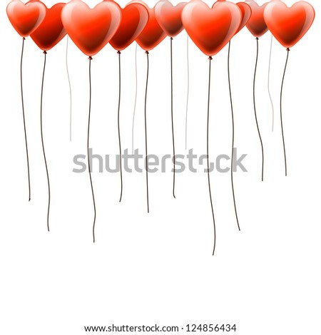 Valentines day background with heart shape balloons