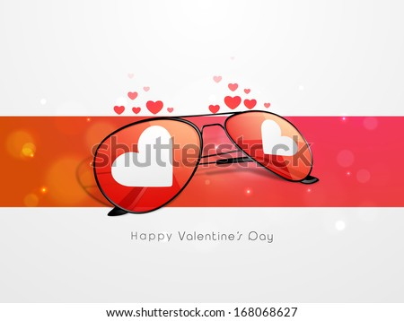 Valentines day background with heart shape eyeglasses, love concept.