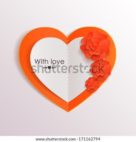 Valentines day background with paper heart and flowers. - stock vector