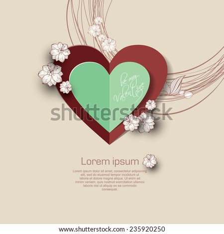 Valentines day background with paper heart and white flower. - stock vector