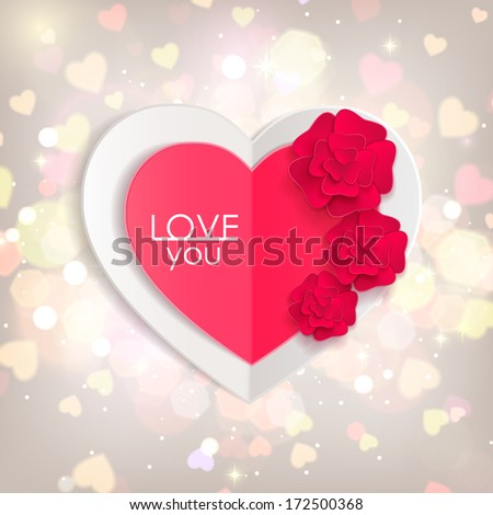 Valentines day background with paper hearts and flowers. Shining background  with blurred bokeh lights. This vector illustration can be used as greeting card or wedding invitation for your design. - stock vector