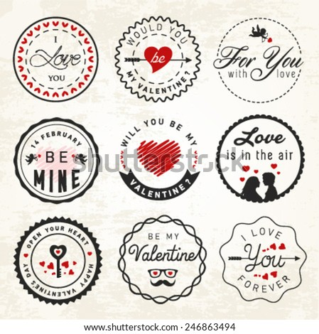 Valentines Day Badges and Typography Elements - stock vector