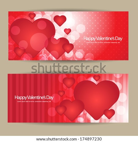 valentines day banner set - stock vector