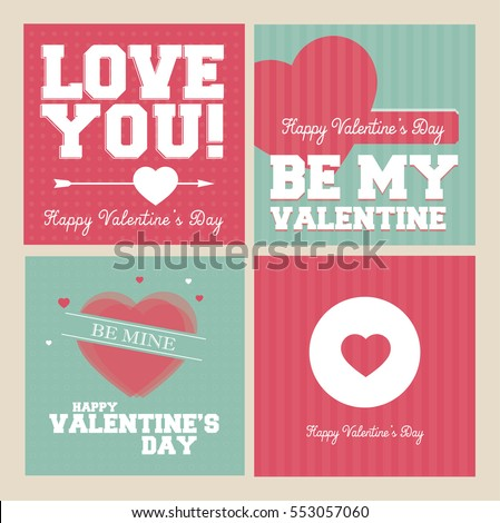 Valentines Day banner set - vintage retro vector design