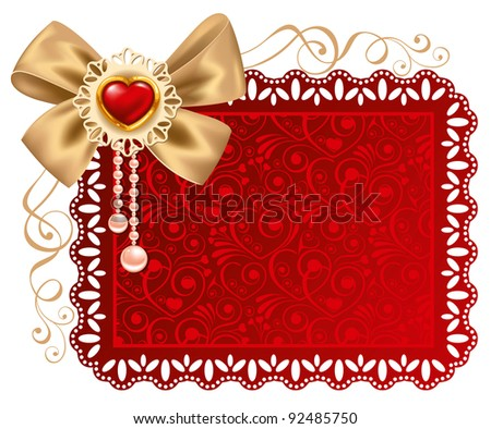 Valentines Day beautiful background  with ornaments and heart. Place for your text.