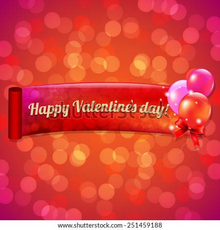 Valentines Day Bokeh Background With Gradient Mesh, Vector Illustration - stock vector
