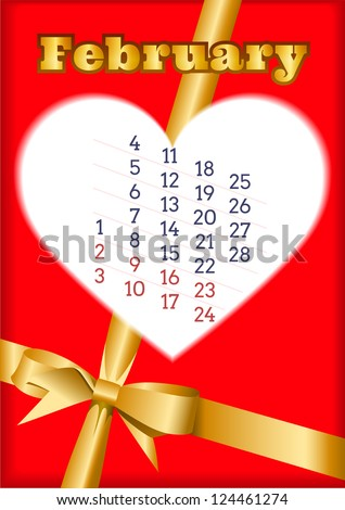 Valentines Day calendar for February 2013 with heart - stock vector