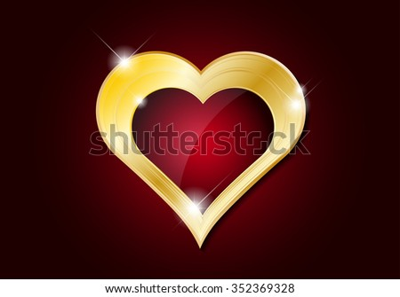 Valentines Day card - abstract golden heart with shines - vector illustration - stock vector
