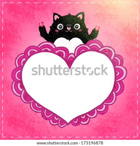 Valentines day card. Cute cartoon doodle heart with black cat - stock vector