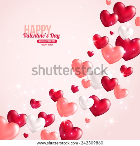 Valentines Day Card Design with Hearts for Holiday Design. Vector Illustration. Flying Shining Hearts. Lights and Sparkles. - stock vector