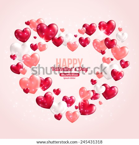 Valentines Day Card Design with Hearts for Holiday Design. Vector Illustration. Flying Shining Hearts. Lights and Sparkles. Romantic Lovely Frame Design for Mothers Day. - stock vector