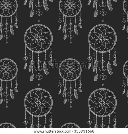 Valentines day card, ornate background, design. Hand-drawn seamless pattern with dreamcatcher and hearts. Hand drawn vector illustration. Dream catcher with hearts, feathers and beads. - stock vector