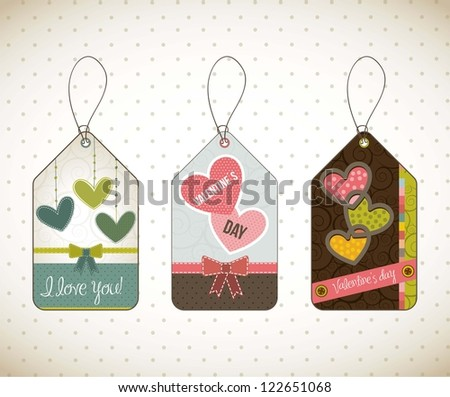 valentines day card over vintage background. vector illustration
