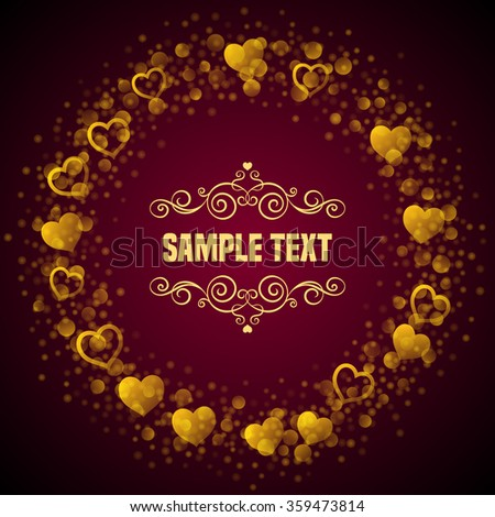 Valentines day card template. Place for text message with hand drawn curly design elements.  Vector illustration - stock vector