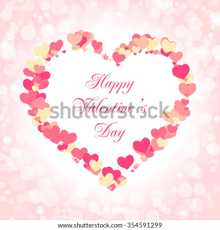 valentines day card template vector illustration with a frame of hearts happy valentines day - Happy Valentines Day Text Message