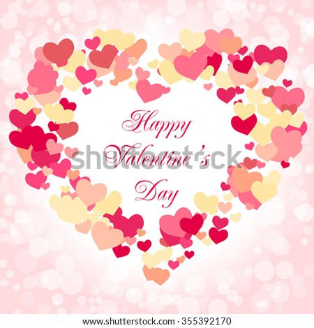 Valentines day card template. Vector illustration with a frame of hearts. Happy Valentines day text message - stock vector