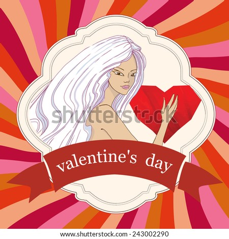Valentines day card. Vector
