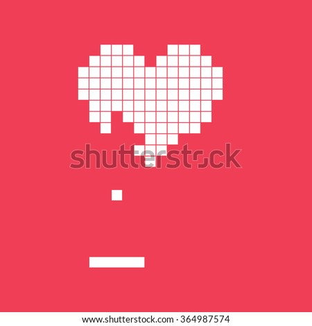 Valentines day card. Video game pixel heart. Retro vintage design. Editable vector.  - stock vector