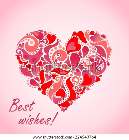 Valentines day card with abstract red heart  - stock vector