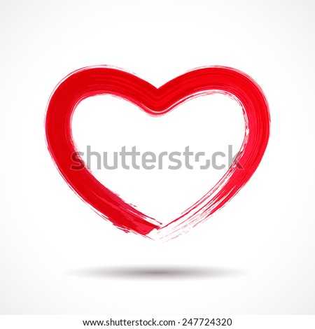 Valentines Day card with brush painted heart - stock vector