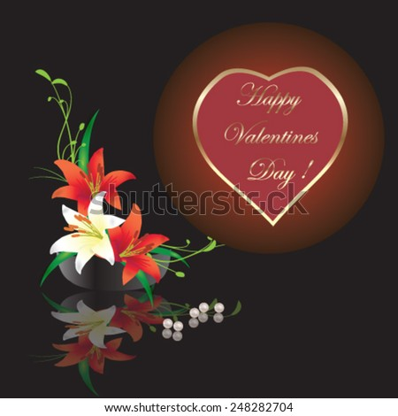 Valentines Day card with calla lilly and red heart - vector illustration. - stock vector