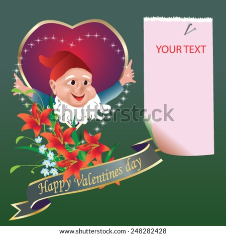 Valentines Day card with cute dwarf and red heart - vector illustration. - stock vector