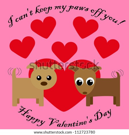 Valentines day card with dogs - stock vector