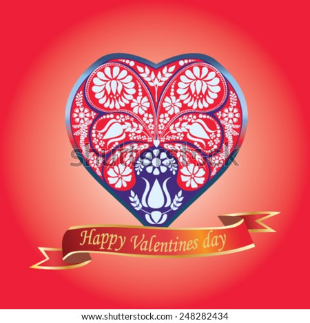 Valentines Day card with floral heart on red background - vector illustration. - stock vector