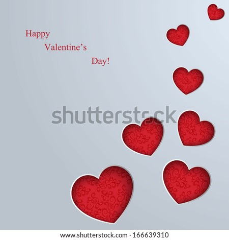 Valentines Day card with hearts - stock vector