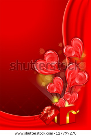 Valentines Day Card with Hearts and Box, vector illustration - stock vector