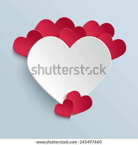 Valentines day card with paper cut hearts. Vector design template for your greeting or invitation card - stock vector