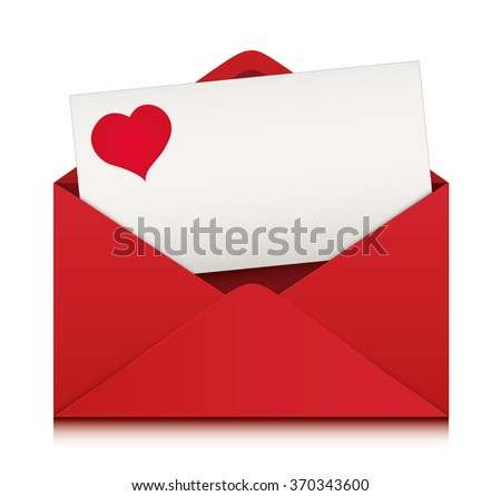 Valentines day card with red envelope. Empty design, vector Illustration.
