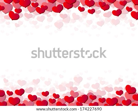 Valentines Day card with scattered hearts on top and bottom - stock vector