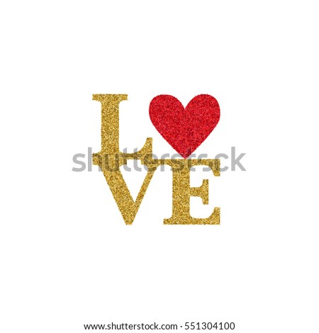 Valentines Day Card Text Love Golden Stock Vector 2018 551304100