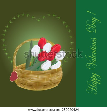 Valentines Day card with tulips in the basket - vector illustration. - stock vector