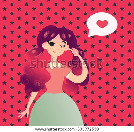 Valentines day cards with beautiful girl. Winking girl with long pink violet  hair. Fall in love Valentines day cards. Pattern background with stars. Candy and ice cream colors.