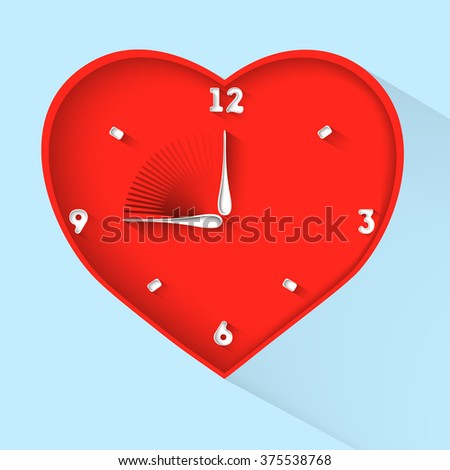 valentines day clock. red heart in flat design.vector illustration - stock vector
