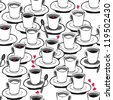 valentines day coffee with red hearts black and white seamless pattern on white - stock vector