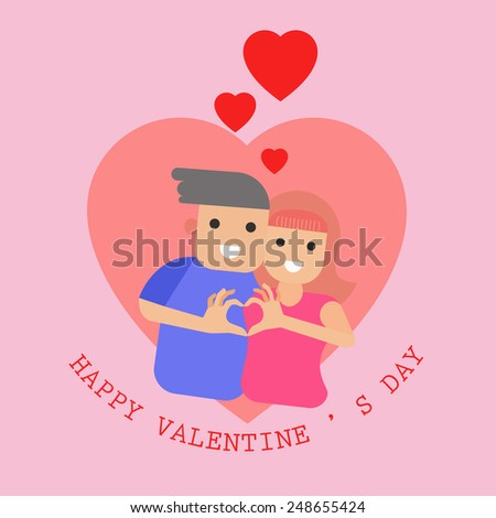 Valentines Day Couple - Vector Illustration, Graphic Design Editable For Your Design.