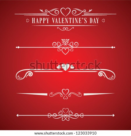 Valentines day design decorative vector elements - stock vector